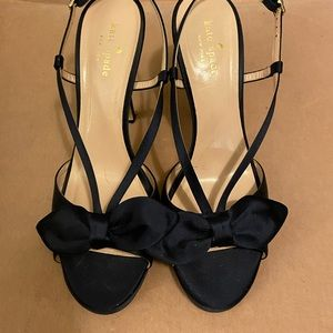 Kate Spade Navy Satin Peep Toe Sandals Sz 10